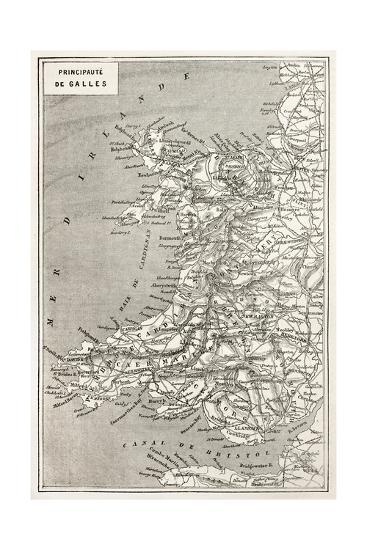Wales Old Map. Created By Erhard And Duguay-Trouin, Published On Le Tour Du Monde, Paris, 1867-marzolino-Art Print