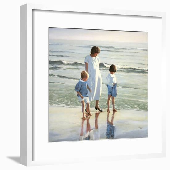 Walk on Beach-Mark Van Crombrugge-Framed Art Print