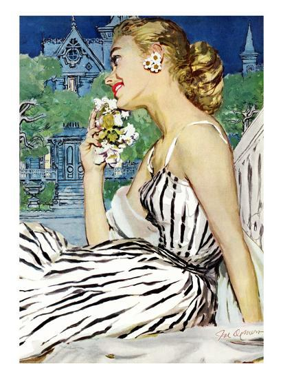 "Walk to the Dance - Saturday Evening Post ""Leading Ladies"", October 5, 1957 pg.37-Joe deMers-Giclee Print"