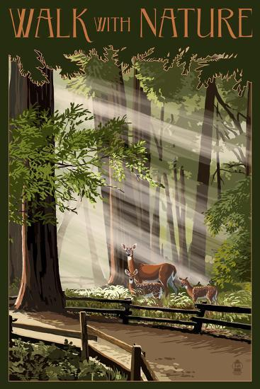 Walk with Nature - National Park WPA Sentiment-Lantern Press-Wall Mural