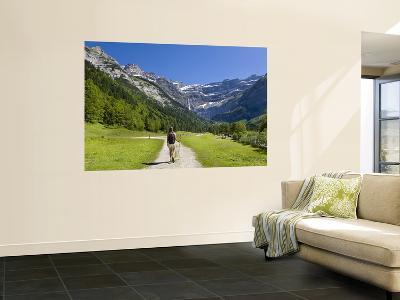 Walker, Cirque De Gavarnie, Pyrenees National Park, Hautes-Pyrenees, Midi-Pyrenees, France-Doug Pearson-Wall Mural