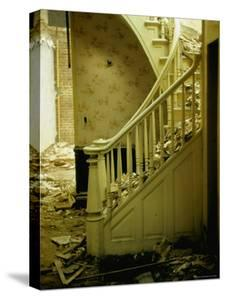 Elegant Curving Stairway Amid Rubble in Building under Demolition, in New York City by Walker Evans