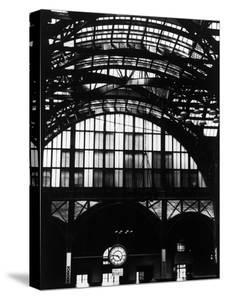 Features of NYC Penn Station Include Ceiling of atrium, steel glass Vaulting and Decorated Clock. by Walker Evans