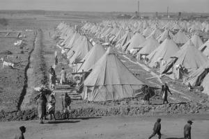 Flood refugee encampment at Forrest City, Arkansas, c.1937 by Walker Evans