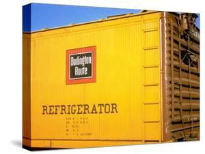 Railroad Box Car Painted the Colors of the Wabash Railroad with Image Denoting the Burlington Route by Walker Evans