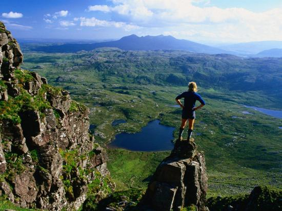 Walker Looking Towards Suilven from Stac Pollaigh, Scotland-Grant Dixon-Photographic Print