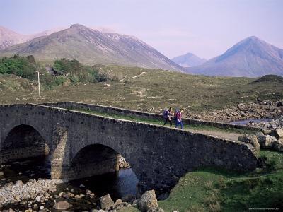 Walkers at Sligachan, Heart of the Isle of Skye, Highland Region, Scotland, United Kingdom-Adam Woolfitt-Photographic Print