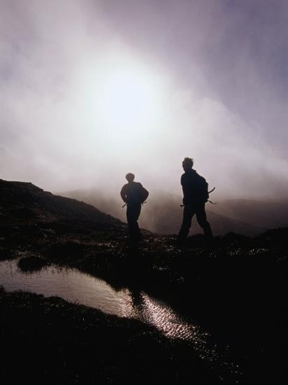 Walkers in Mist on Diamond Hill in Connemara National Park, Connemara, Ireland-Gareth McCormack-Photographic Print