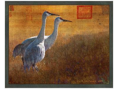 Walking Cranes-Chris Vest-Art Print