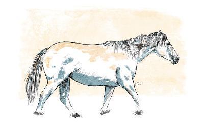 Walking Horse Blue-OnRei-Art Print
