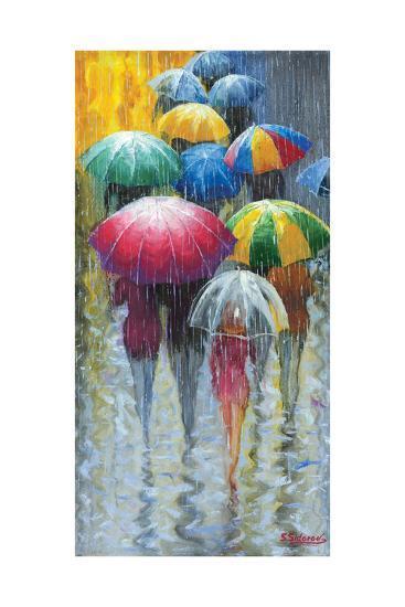 Walking in Rain I-Stanislav Sidorov-Art Print