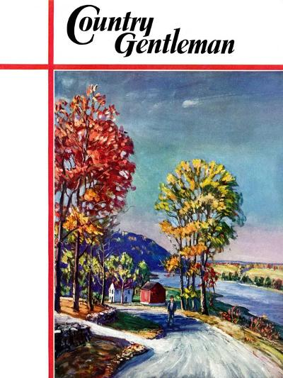 """""""Walking on Country Road,"""" Country Gentleman Cover, October 1, 1939-Walter Baum-Giclee Print"""