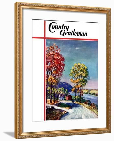 """""""Walking on Country Road,"""" Country Gentleman Cover, October 1, 1939-Walter Baum-Framed Giclee Print"""
