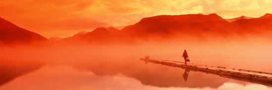 Walking on Dock Robe Lake at Sunrise Sc Ak Chugach Mts Summer Canoe and Flyfishing Gear-Design Pics Inc-Photographic Print