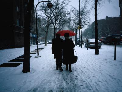 Walking on Snowy Winter Street, New York City, New York, USA-Angus Oborn-Photographic Print