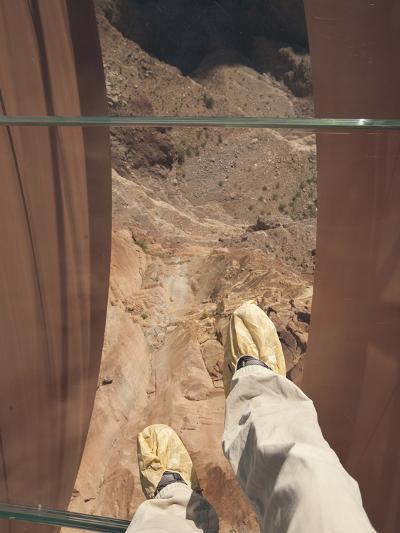 Walking over the Grand Canyon on a Glass Skywalk-John Burcham-Photographic Print