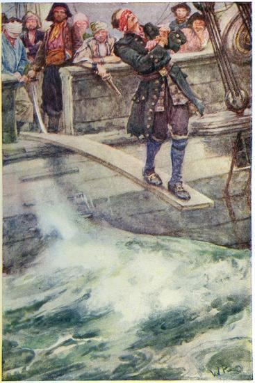 Walking the Plank', Illustration from 'The Master of Ballantrae' by Robert Louis Stevenson-Walter Stanley Paget-Giclee Print