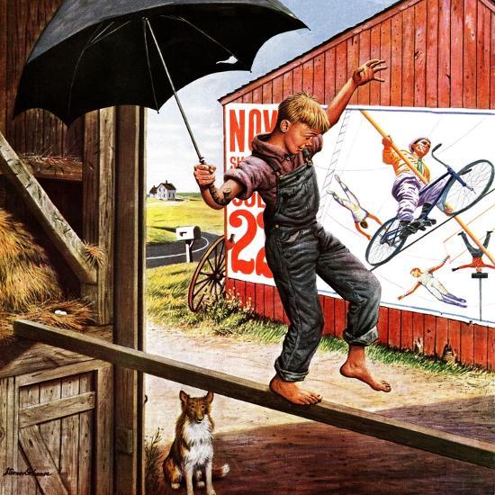 """""""Walking the Tightrope,"""" June 11, 1949-Stevan Dohanos-Giclee Print"""