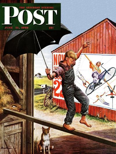 """Walking the Tightrope,"" Saturday Evening Post Cover, June 11, 1949-Stevan Dohanos-Giclee Print"
