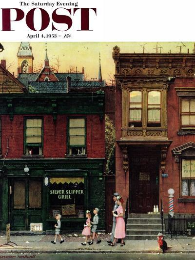 """Walking to Church"" Saturday Evening Post Cover, April 4,1953-Norman Rockwell-Giclee Print"
