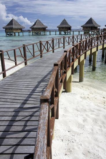 Walkway to Holiday Huts over Lagoon-Design Pics Inc-Photographic Print