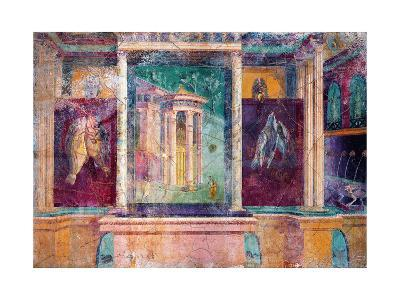 Wall Fresco with Architecture, C. 40-30 B.C.--Art Print