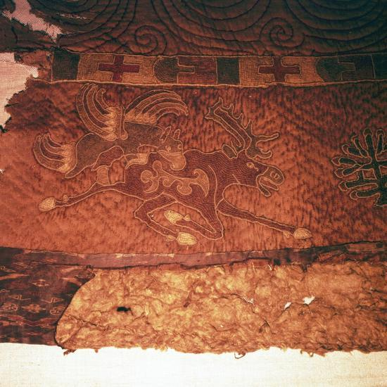 Wall-hanging of griffin attacking an elk, from Kurgan, Northern Mongolia, c1st century BC-Unknown-Giclee Print