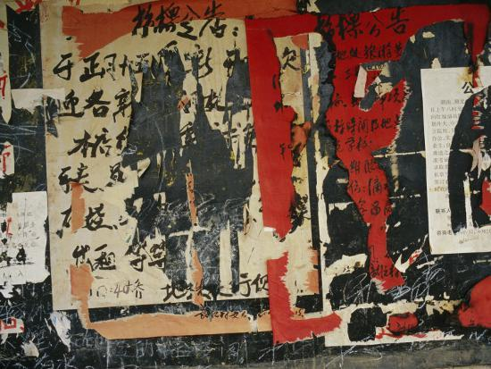 Wall in China with Torn Posters and Graffiti--Photographic Print