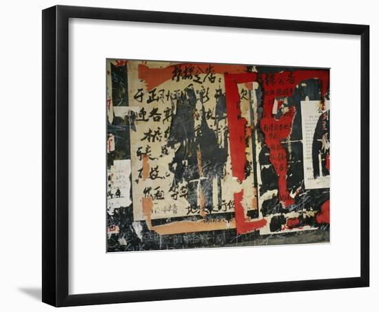 Wall in China with Torn Posters and Graffiti--Framed Photographic Print