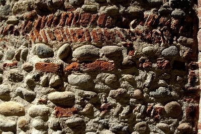 Wall in Stone and Brick Layered in Herringbone Pattern with Thick Layers of Mortar Surviving from R--Photographic Print