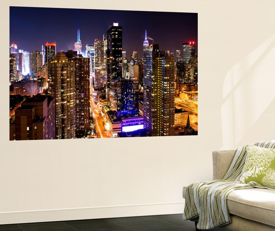 Wall Mural Manhattan Cityscape At Night Times Square New York