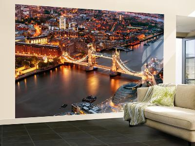 Wall Mural - View of City of London with the Tower Bridge at Night - London - UK-Philippe Hugonnard-Wall Mural – Large