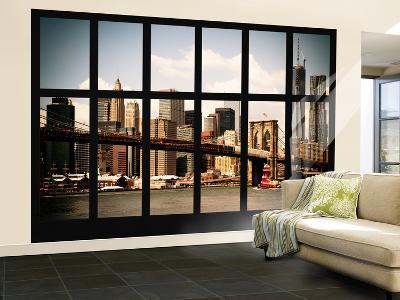 Wall Mural - Window View - Manhattan View with Brooklyn Bridge and 1WTC - New York-Philippe Hugonnard-Wall Mural – Large