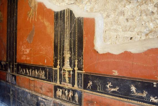 Wall Painted Red with Friezes Depicting Cupids, House of Vettii, Pompeii--Photographic Print