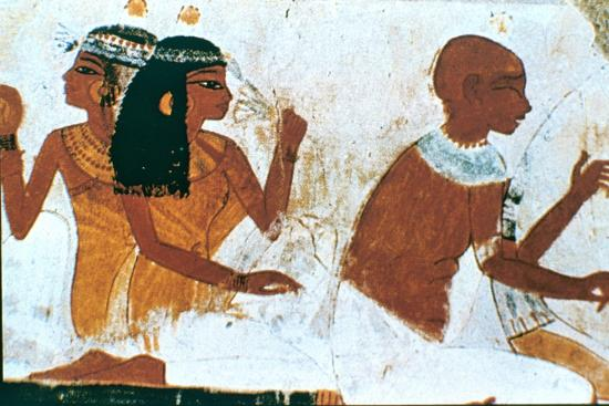 Wall Painting, Detail of The Deceased Couple, Tomb of Nakht, Thebes Artist: Unknown-Unknown-Giclee Print