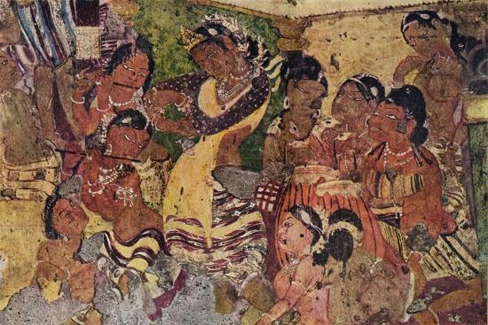 'Wall painting from the Caves of Ajanta', c480-Unknown-Giclee Print