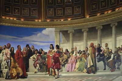 Wall Painting in the Academy of Arts, Paris, 1841 (Left Hand Side)-Paul Delaroche-Giclee Print