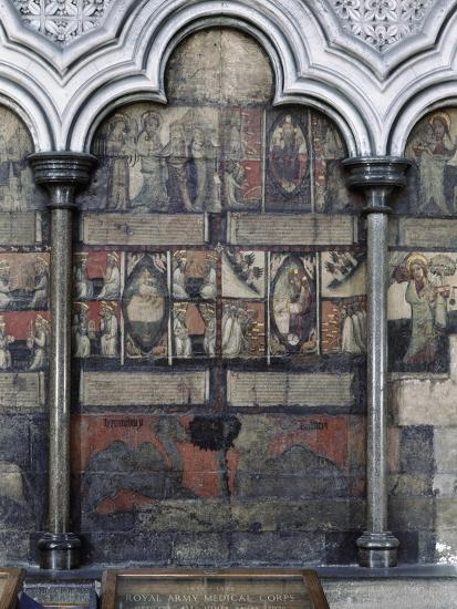 Wall painting in the Chapter House, Westminster Abbey, London, c1400-Werner Forman-Giclee Print