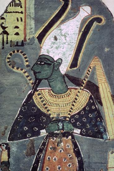 Wall painting of Osiris Khenti-Amentiu, from a tomb at Thebes. Artist: Unknown-Unknown-Giclee Print