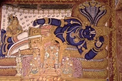 Wall Painting of the God Vishnu Resting on a Snake--Giclee Print