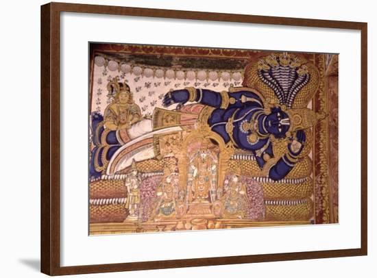 Wall Painting of the God Vishnu Resting on a Snake--Framed Giclee Print