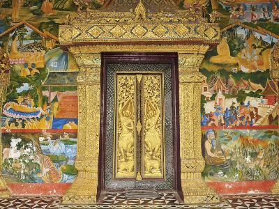 Wall Painting of the Life of Buddha, Ban Xieng Muan, Luang Prabang, Laos, Indochina, Southeast Asia-Jochen Schlenker-Photographic Print