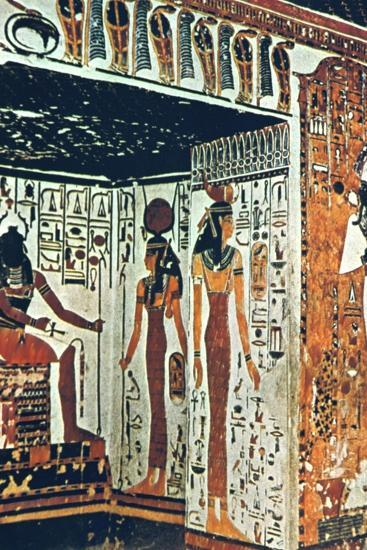 Wall Painting, Tomb of Nefertiti, Thebes, Egypt Artist: Unknown-Unknown-Giclee Print