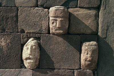 Wall with Stone Heads, Archaeological Site of Tiwanaku--Photographic Print