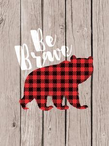 Be Brave Bear Brown Wood by Wall + Wonder