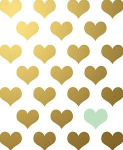 Hearts Gold Mint by Wall + Wonder