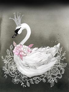 Swan Black Pink Floral by Wall + Wonder