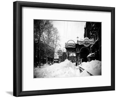 Snow Covered Exterior of Grand Opera House at Elm Place and Fulton St. During Blizzard of 1888