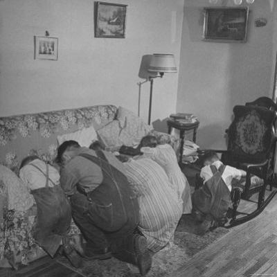 Charles C. Todd and His Family, Praying in the Morning Before Breakfast by Wallace Kirkland