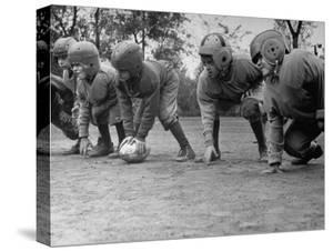 Kids Lining up Like Line Men Ready to Play by Wallace Kirkland